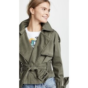 Anine Bing Aria Cropped Trench Coat Military Green